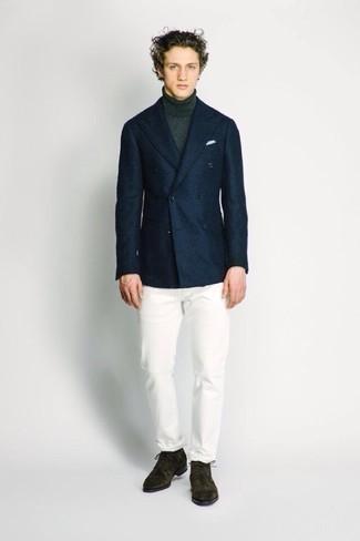Navy Herringbone Wool Two Button Blazer