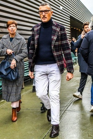 Jacket Outfits For Men: Go for a jacket and white chinos to pull together an interesting and well-executed outfit. Burgundy leather derby shoes can easily class up your look.