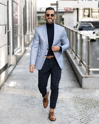 What color pants with light blue blazer
