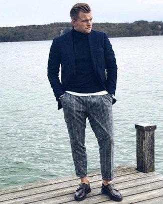 Grey Vertical Striped Chinos Outfits: A navy blazer and grey vertical striped chinos are the kind of effortlessly smart pieces that you can wear for years to come. To give this outfit a sleeker finish, complement this getup with black leather double monks.