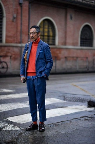 How to wear: navy wool blazer, red turtleneck, blue denim shirt, navy wool dress pants