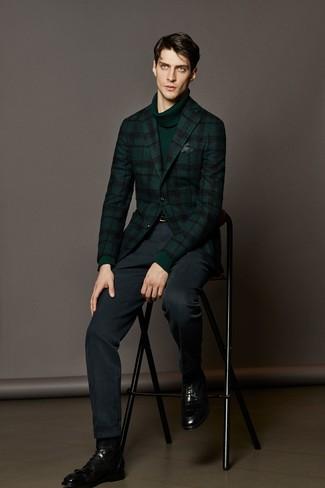 How to wear: dark green plaid wool blazer, dark green turtleneck, navy dress pants, black leather dress boots