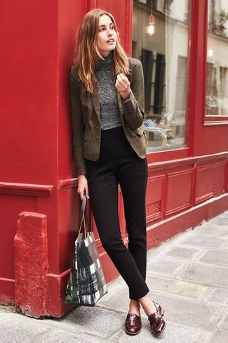 How to wear: brown cotton blazer, grey turtleneck, black dress pants, brown leather loafers