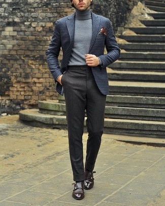 How to wear: grey check wool blazer, grey turtleneck, charcoal wool dress pants, dark brown leather double monks