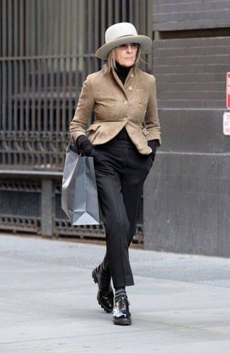 How to wear: tan suede blazer, black turtleneck, black dress pants, black leather oxford shoes