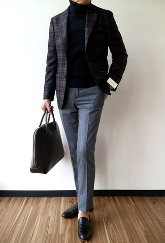 How to wear: dark brown plaid wool blazer, black turtleneck, grey wool dress pants, black leather loafers