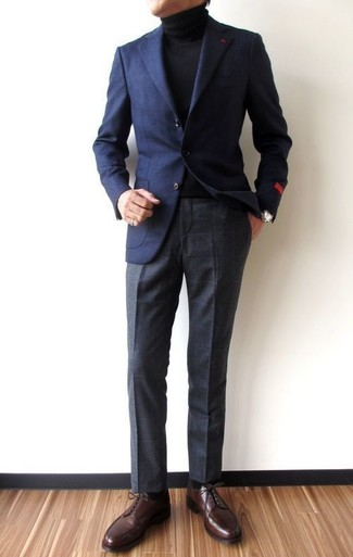 How to wear: navy wool blazer, black turtleneck, charcoal check dress pants, dark brown leather derby shoes