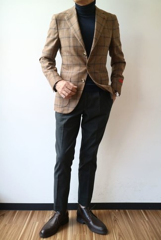How to wear: brown check wool blazer, black turtleneck, black dress pants, dark brown leather derby shoes