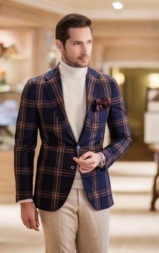 How to wear: navy check wool blazer, white turtleneck, beige wool dress pants, dark brown pocket square