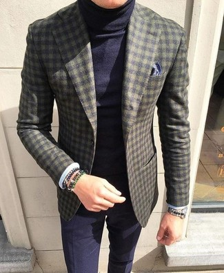 How to wear: olive check wool blazer, navy turtleneck, navy dress pants, navy print pocket square