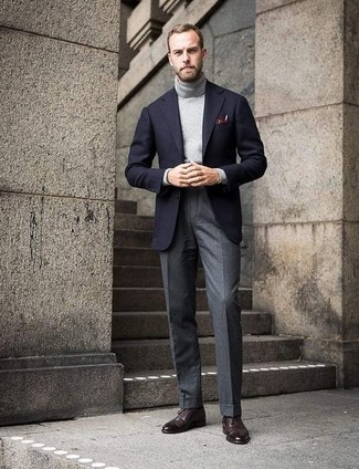 How to wear: black wool blazer, grey turtleneck, grey wool dress pants, dark brown leather brogues