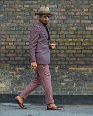 How to wear: violet blazer, burgundy turtleneck, pink dress pants, brown leather tassel loafers
