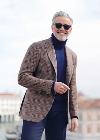 How to wear: brown plaid blazer, navy turtleneck, navy dress pants, navy pocket square