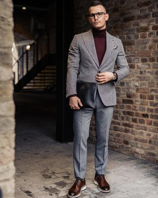 How to wear: grey gingham wool blazer, burgundy turtleneck, grey dress pants, brown leather brogues