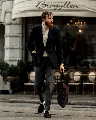 How to Wear a Beige Knit Turtleneck For Men: Putting together a beige knit turtleneck with charcoal wool dress pants is an amazing pick for a dapper and polished look. Finishing off with dark brown suede loafers is a fail-safe way to breathe a dash of sophistication into your outfit.