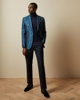 How to Wear Brown Socks For Men: Pair a teal brocade blazer with brown socks for a casual street style getup that's also easy to wear. Complement your ensemble with a pair of black suede loafers to make the ensemble slightly smarter.