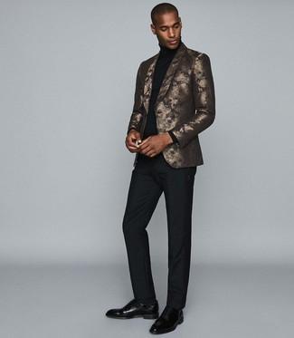 How to wear: gold print blazer, black turtleneck, black dress pants, black leather oxford shoes