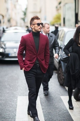 How to Wear Black Leather Chelsea Boots For Men: Team a burgundy blazer with black dress pants to look neat and stylish. And it's amazing what a pair of black leather chelsea boots can do for the ensemble.