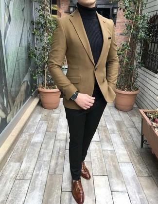 Tan Blazer with Black Dress Pants
