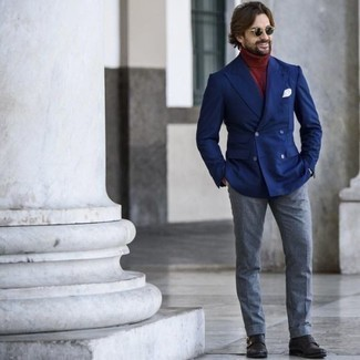 Blue Blazer Outfits For Men: The sartorial collection of any gentleman should always include such must-haves as a blue blazer and light blue dress pants. When it comes to shoes, this ensemble pairs well with black leather double monks.