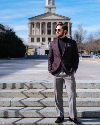 Black Velvet Loafers Outfits For Men: Loving how this combo of a dark purple blazer and grey dress pants immediately makes a man look sharp and sophisticated. For extra style points, complete this getup with black velvet loafers.