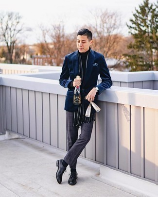 Velvet Blazer Outfits For Men: Opt for a velvet blazer and charcoal check dress pants for a neat sophisticated look. A pair of black leather derby shoes is a savvy option to round off your ensemble.