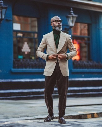 Pants Outfits For Men: Loving how this combo of a beige vertical striped blazer and pants instantly makes a man look smart and refined. Introduce dark brown leather tassel loafers to the mix for an air of refinement.