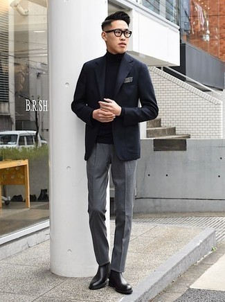 Black Leather Chelsea Boots Outfits For Men: To look like a real gent at all times, pair a black blazer with grey dress pants. To introduce a more laid-back touch to your getup, complement your ensemble with a pair of black leather chelsea boots.