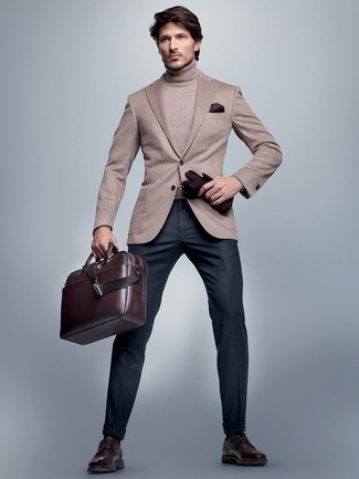 Men's Beige Blazer, Beige Turtleneck, Navy Dress Pants, Dark Brown ...