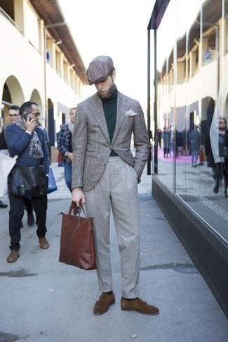 Flat Cap Outfits For Men: Team a grey plaid blazer with a flat cap for a stylish and easy-going outfit. Ramp up the classiness of your look a bit by rounding off with a pair of dark brown suede double monks.