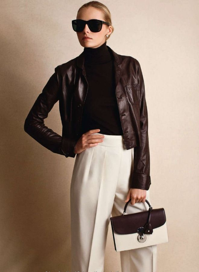 Dress in a Dark Brown Leather
