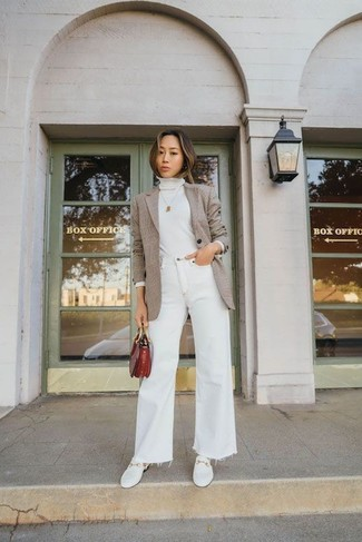 How to wear: tan blazer, white turtleneck, white flare jeans, white leather loafers
