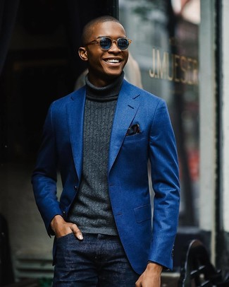 How to wear: blue cotton blazer, charcoal turtleneck, navy jeans, navy floral pocket square