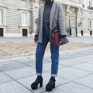 How to wear: grey plaid blazer, charcoal turtleneck, blue jeans, black chunky suede heeled sandals