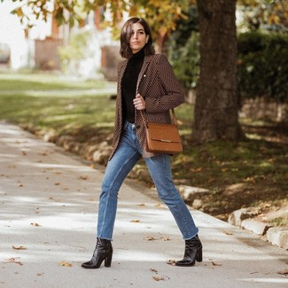 How to wear: brown print blazer, black turtleneck, blue jeans, black leather ankle boots