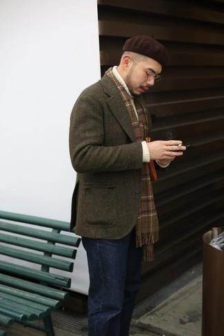 How to wear: olive wool blazer, white knit turtleneck, black jeans, dark brown beanie