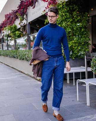 How to wear: dark purple wool blazer, blue turtleneck, blue jeans, brown suede loafers