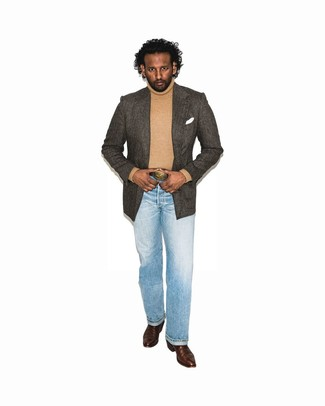 How to Wear a Dark Brown Leather Belt For Men: Definitive proof that a dark brown herringbone blazer and a dark brown leather belt look amazing when married together in a casual look. Complement your look with a pair of dark brown leather cowboy boots and ta-da: this ensemble is complete.