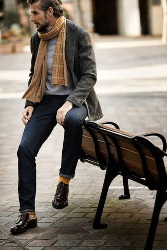 How to Wear a Grey Turtleneck For Men: A grey turtleneck and navy jeans paired together are the ideal combo for those who love off-duty styles. Don't know how to finish this getup? Rock dark purple leather derby shoes to ramp it up a notch.