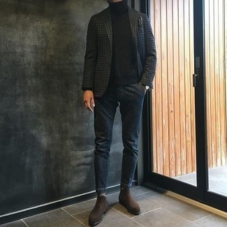 Charcoal Pocket Square Outfits: Wear a charcoal houndstooth blazer with a charcoal pocket square for a casual menswear style with an urban spin. Balance out this ensemble with a more elegant kind of shoes, such as these dark brown suede chelsea boots.