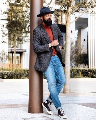 Grey Blazer with Blue Jeans Casual Outfits For Men: For an outfit that's effortlessly neat and GQ-worthy, marry a grey blazer with blue jeans. Want to tone it down with footwear? Complement this look with a pair of dark brown canvas high top sneakers for the day.