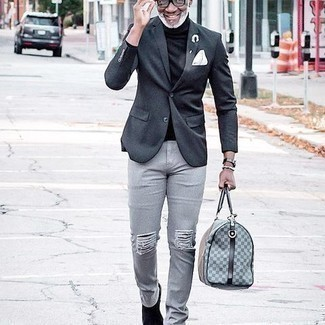 Charcoal Blazer Outfits For Men: You'll be amazed at how extremely easy it is for any guy to get dressed this way. Just a charcoal blazer and grey ripped jeans. Black suede chelsea boots will infuse an extra touch of style into an otherwise mostly dressed-down outfit.