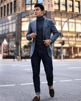 500+ Fall Outfits For Men: This casual pairing of a charcoal check blazer and navy jeans takes on different moods depending on how you style it out. Bring a hint of sophistication to your look by wearing a pair of dark brown suede tassel loafers. This one is an excellent choice when it comes to a knockout look that will take you from summer to fall.