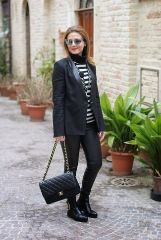 How to wear: black blazer, black and white horizontal striped turtleneck, black leather leggings, black leather chelsea boots