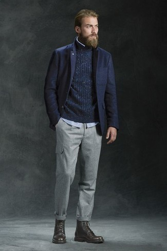 How to Wear Dark Brown Leather Casual Boots For Men: This combination of a navy wool blazer and grey cargo pants delivers comfort and functionality and helps keep it low profile yet contemporary. Introduce a pair of dark brown leather casual boots to this getup and you're all set looking incredible.