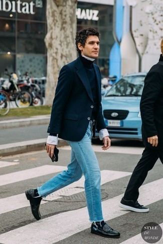 Light Blue Jeans Smart Casual Outfits For Men: For an effortlessly sleek outfit, consider pairing a navy wool blazer with light blue jeans — these pieces work nicely together. Introduce a pair of black leather loafers to the mix to make the getup a bit more polished.