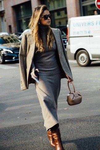 How to wear: grey blazer, grey turtleneck, grey wool midi skirt, brown leather mid-calf boots