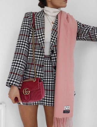 How to wear: white and black houndstooth blazer, white turtleneck, white and black houndstooth mini skirt, red velvet crossbody bag