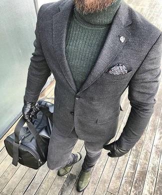How to wear: grey wool blazer, dark green turtleneck, grey skinny jeans, olive suede chelsea boots