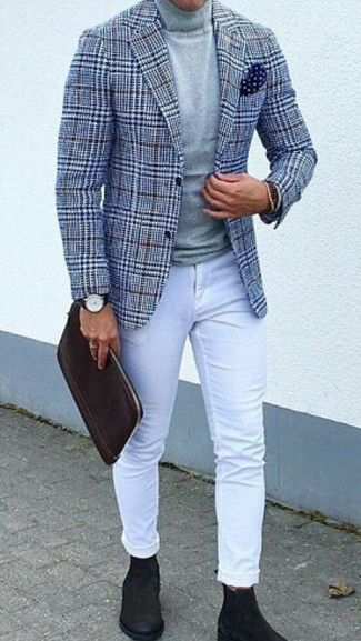 How to wear: blue houndstooth wool blazer, grey turtleneck, white skinny jeans, black suede chelsea boots